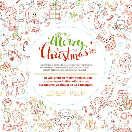 Vector Christmas outlined snowmen background. Cute snowmen with candy, gifts, baubles, Christmas sock, bird, ski, skate or garland. Music notes, stars and snowflakes. There is copyspace in the center.