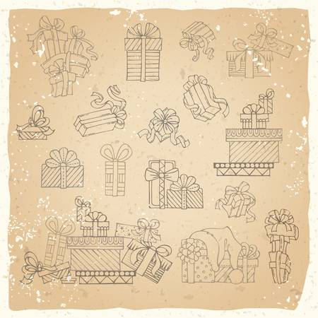 Vector set of vintage festive gifts. One, two and more presents. A heap of gift brawn linear icons on old paper background.