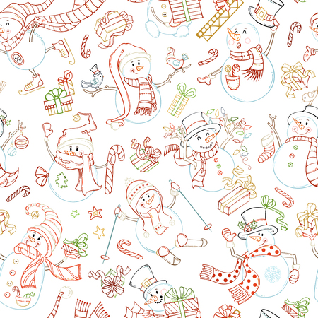 Seamless pattern of cute snowmen.