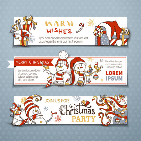Vector set of horizontal Christmas banners with cute snowmen. Christmas tree, baubles and sock, gifts, candy canes, snowflakes and stars. Black, red, gold, gray and white colors. Copy space for text. Illustration