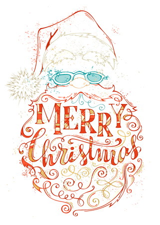 A Vector Merry Christmas Lettering. Hand-drawn colored contour of Santa Claus on white background. Hat with pompom, glasses and curly beard with congratulations.