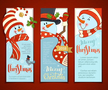 Vector set of vertical Christmas banners with cute snowmen. Cartoon smiling snowmen with hats and scarves. Holly berries and bird. Christmas backgrounds. There is copy space for your text.