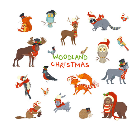 Vector set of forest animals dressed in Santa hat and scarf. Cute animals on white background. Moose, bear, fox, wolf, deer, owl, hare, squirrel, raccoon, hedgehog and birds.