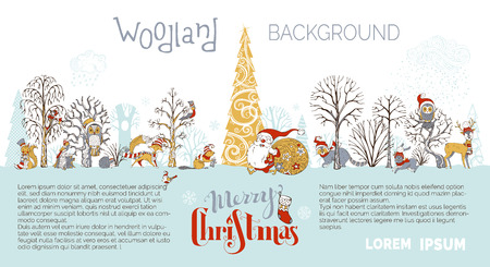 Cute forest animals in hats and scarfs. Santa Claus with big sack full of gifts. Cute fox, hare, deer, squirrel, raccoon and hedgehog. Red, gold and gray.