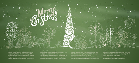 Vector chalk Merry Christmas background. Woodland animals in hats and scarfs and trees on green blackboard background. Christmas tree in winter forest. Santa Claus with a big sack full of gifts. Illustration