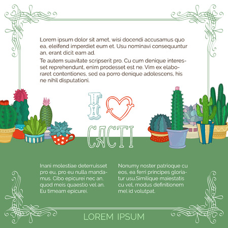 A variety of cartoon cactus with flowers and without. There is copyspace for your text on white and green backgrounds.