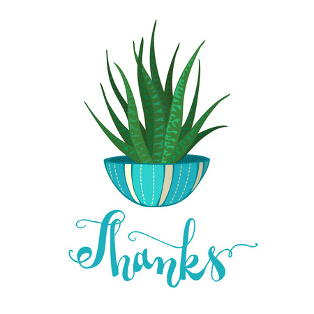 Cartoon cactus in blue flower pot on white background. Hand-written lettering