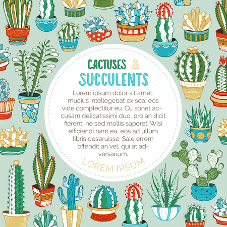 A variety of cartoon cactuses with prickles, flowers and without. They are in flower pots or cups. There is copyspace for your text inside round frame.  Ilustrace