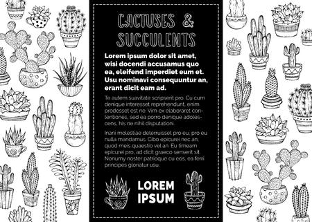 Set Zimmerpflanzen in Blumentöpfen und Tassen mit Stacheln oder Blumen. Kann verwendet werden, um Malbuch für Erwachsene. Schwarz-Weiß-Darstellung. Vektorgrafik