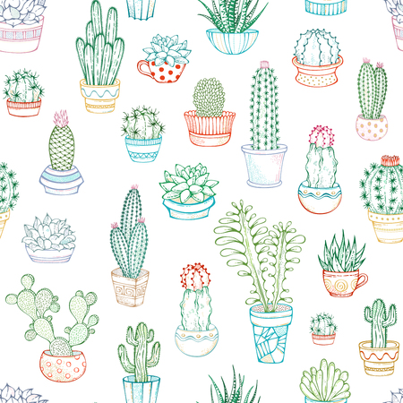 A variety of outlined cacti with prickles, flowers and without. They are in flower pots or cups. Hand-drawn boundless background.