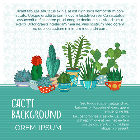 Various cartoon cactuses and succulents in flowerpots and cups. There is copyspace for your text on white and green backgrounds.