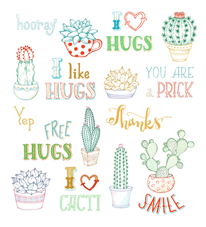 Vector outline hand-drawn cacti and lettering on white background. Cactus and succulent plants in flower pots. With spines or flowers and without. You are prick. Free hugs. Thanks. I like hugs. Smile.