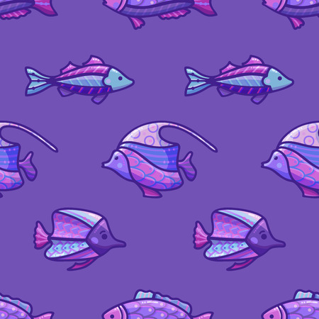 Vector seamless deep ocean pattern. Various sea fishes on dark blue background. Boundless background can be used for web page backgrounds, wallpapers, wrapping papers and invitations. Stock Vector - 95558085