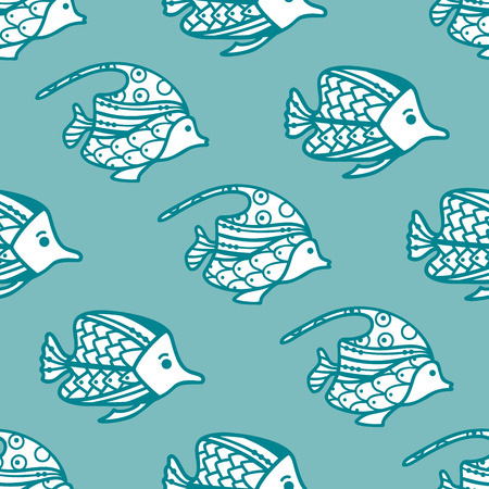 Vector seamless fish pattern. Various fish on blue background. Boundless background can be used for web page backgrounds, wallpapers, wrapping papers and invitations.