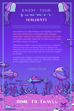 Violet deep underwater ocean background. Vector illustration. Fish, sea plants, corals and algae, shells and starfish, jellyfish. There is copy space for your text.