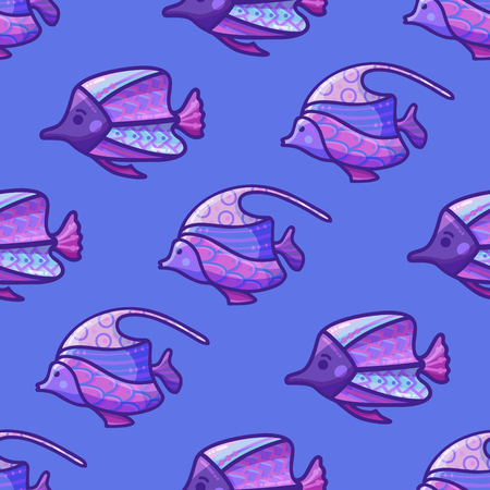 Vector seamless violet underwater ocean pattern. Various sea fishes on blue background. Boundless background can be used for web page backgrounds, wallpapers, wrapping papers and invitations.