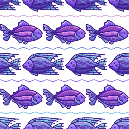Vector seamless deep sea pattern. Cartoon fish on white background. Boundless background can be used for web page backgrounds, wallpapers, wrapping papers and invitations.