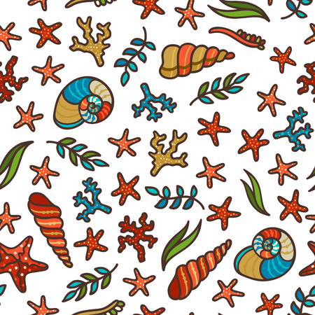 Vector seamless underwater sea pattern. Various sea plants and algae, shells and starfish. Great for web page background, wrapping paper and invitation. Hand-drawn boundless background.