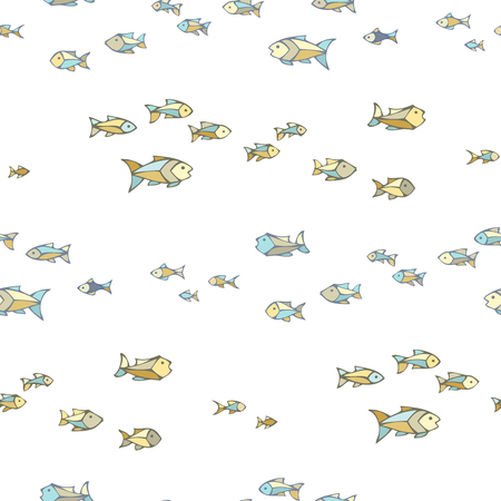 Vector seamless fish pattern. Sardines on white background. Boundless background can be used for web page backgrounds, wallpapers, wrapping papers and invitations.