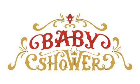 Vector Baby Shower Lettering. Hand-drawn red and gold illustration. Swirls and flourishes.