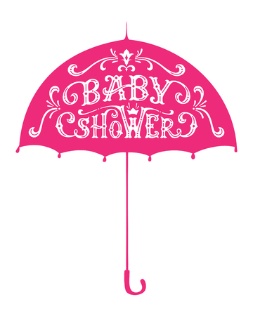 Vector Baby Shower Lettering. White text on pink umbrella. Swirls and flourishes. Hand-drawn duotone illustration.