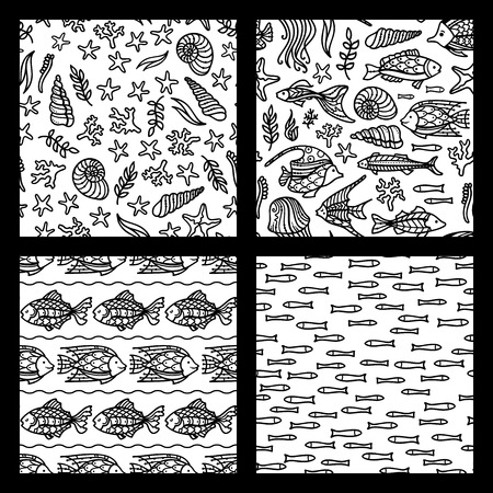 Vector set of seamless sea underwater patterns. Doodles fish, shells and starfish, sea plants, corals and algae. Boundless background can be used for web page background, wrapping paper and invitation. Stock Illustratie