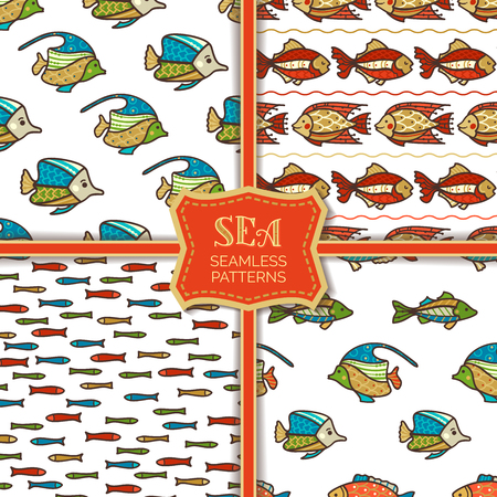 Vector set of seamless fish patterns. Various cartoon sea fish on white background. Boundless background can be used for web page backgrounds, wallpapers, wrapping papers and invitations. Illustration