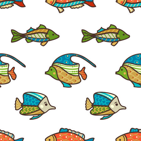 Cartoon fish swim on white background. Boundless background can be used for web page backgrounds, wallpapers, wrapping papers and invitations.