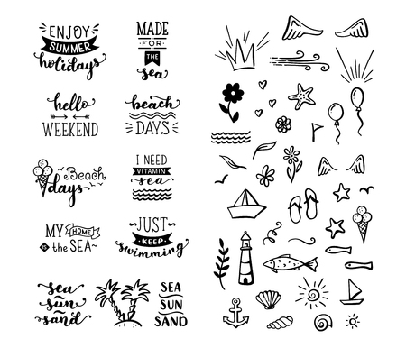 Unique calligraphic quotes and phrases written by brush. Great for poster, mug, bag, card or t-shirt. Black and white doodles. Illustration