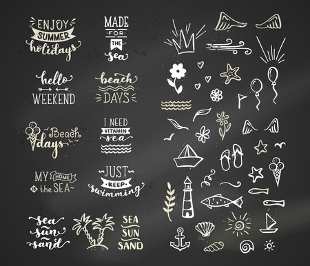 Unique calligraphic quotes and phrases written by brush on dark blackboard background. Hand-drawn doodle clipart elements.