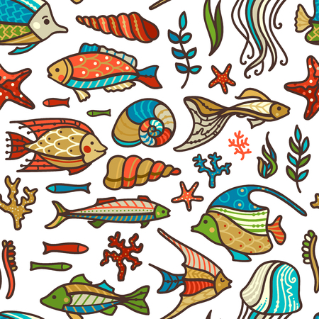 Colourful fish, sea plants and algae, shells and starfish on white background. Cartoon boundless background. Great for web page backgrounds or invitations.