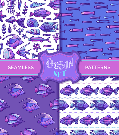 Fish, shells and starfish, sea plants, corals and algae. Boundless background can be used for web page background, wrapping paper and invitation.