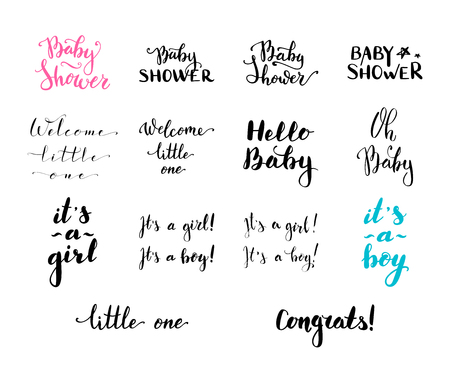 Vector hand written brush words and phrases. Baby Shower. Hello Baby. Welcome Little One. Its a girl. Its a boy. Congrats! Oh Baby!