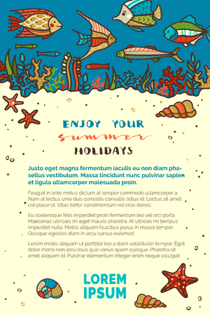 Vector ocean underwater life background. Various fish, sea plants, corals and algae, shells and starfish, jellyfish. Light yellow sand and dark blue water. There is copy space for your text.