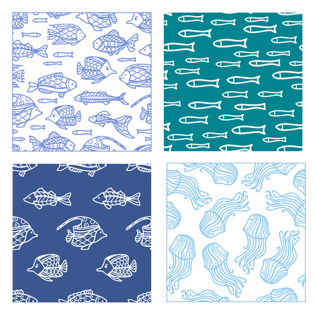 Vector set of seamless fish and jellyfish patterns. Duotone doodles illustrations. Boundless background can be used for web page background, wrapping paper and invitation.