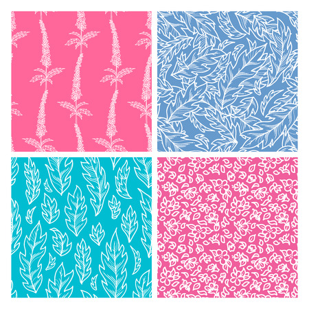 Vector seamless pattern of flowers and leaves. White linear tiny flowers and pinnate leaves on colored backgrounds. Bright spring and summer boundless backgrounds. Tileable design elements.