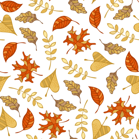 Vector seamless pattern of autumn leaves. Maple, oak, rowan, ash and linden leaves on white background. Fall boundless background. Tileable elements.