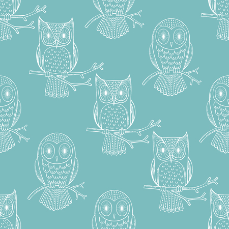 White outline owls on blue background. Vector boundless background for your design.