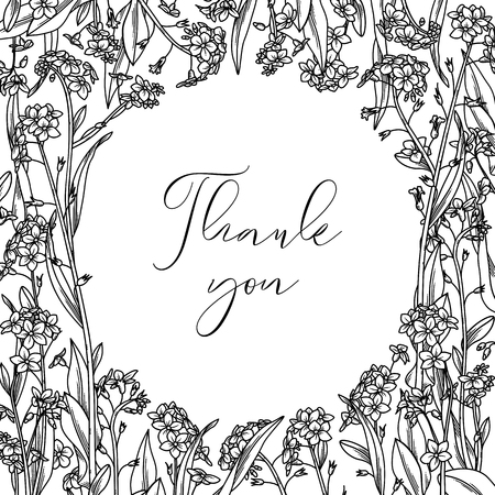 Vector outline floral background. Black contours of tiny flowers and leaves. Square image. Forget-me-nots round frame. There is a copy space for your text in the center.