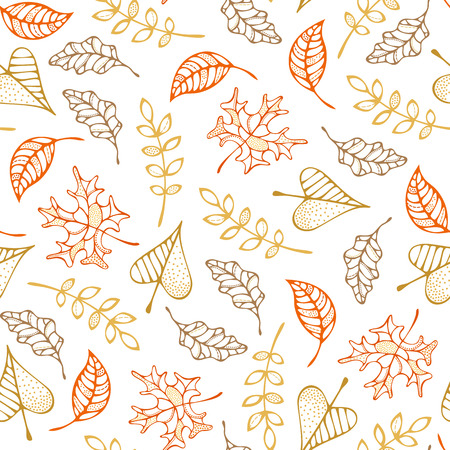 Colored outline maple, ash, oak, rowan and linden leaves on white background. Fall boundless background. Tileable elements. Illustration