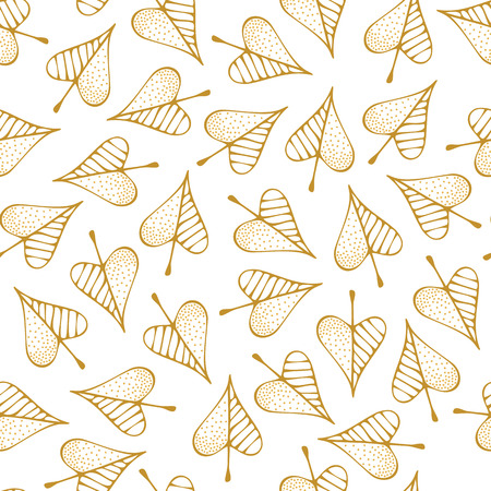 Outline yellow autumn leaves on white background. Fall boundless background. Tileable elements.