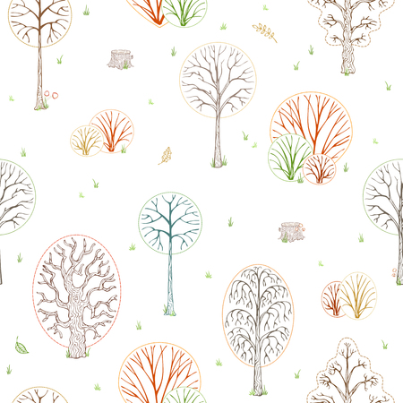 Colourful contours of autumn trees, bushes and stumps. Autumn leaves, grass, seeds and mushrooms on white background. Outline boundless background.