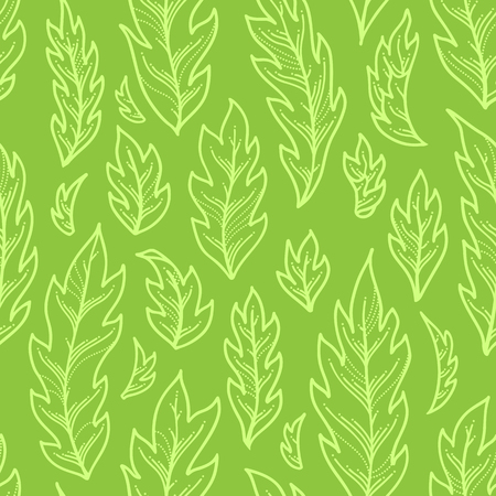 Linear pinnate leaves on bright green background. Duotone summer boundless background. Tileable design element.