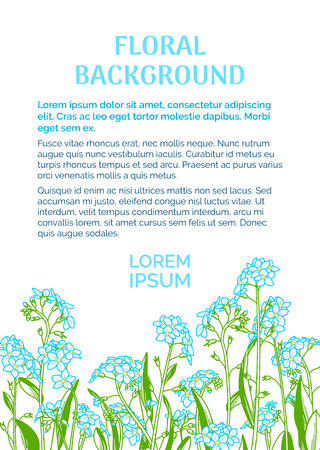 Blue linear forget-me-nots on white background. There is copy space for your text on the top. A5 portrait format paper size with bleed 2 mm. Standard-Bild - 104014429