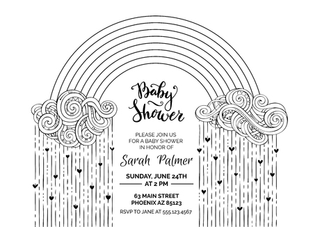 Outline Baby Shower template. Clouds, hearts and rainbow on white background. Black and white vector illustration. Illustration
