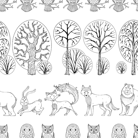 Autumn forest. Vector seamless pattern. Doodles wild animals and birds on white background. Fox, bear, hare, wolf and owls. Trees and bushes. Duotone repeating tiles.
