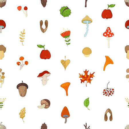 Cartoon maple seed, apple, tree branch, autumn leaf, mushroom, fir-cone, flower, acorn and chestnut on white background. Bright boundless background for your design.
