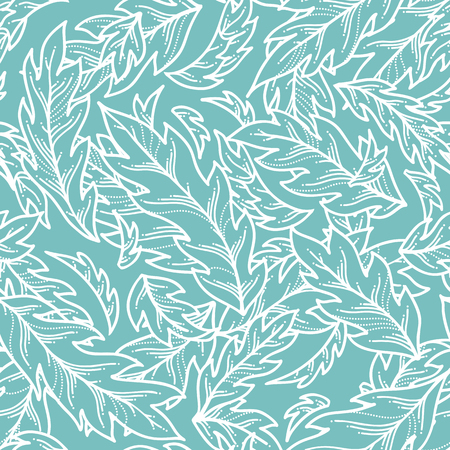 White contours of pinnate leaves on blue background. Duotone summer boundless background. Tileable design element.