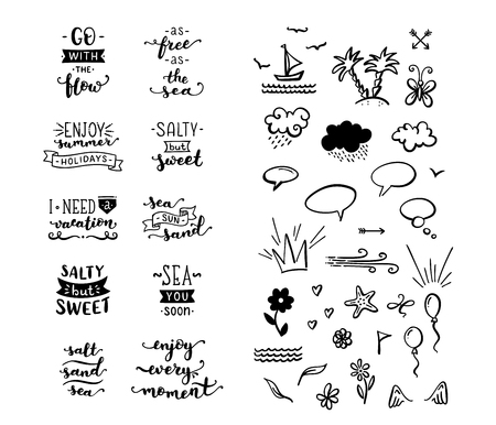Unique calligraphic quotes and phrases written by brush. Illustration