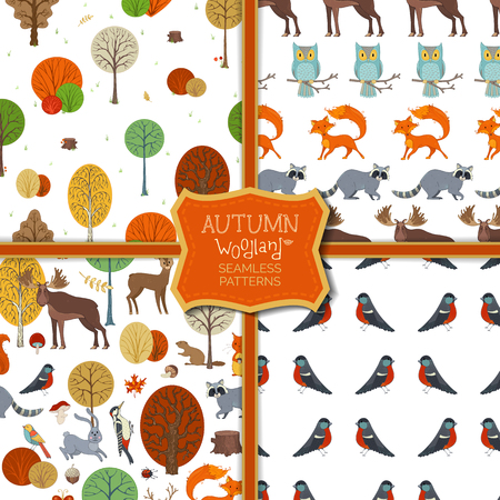 Cute wild animals and birds, autumn trees and bushes. Fox, moose, deer, bear, squirrel, raccoon, hedgehog, bullfinch and others. Tileable backgrounds.